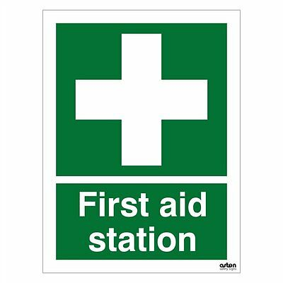First aid station sign. 150mm x 200mm (Self Adhesive Sticker)