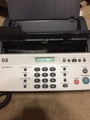 HP 640 Fax Plain Paper Inkjet Quality Fax Machine CB782A  W/ Owners Manual