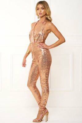 Honey Couture MAE Rose Gold Halter Jumpsuit in Rose Gold