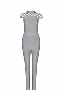 Honey Couture HETTY Grey Cut Out High Neck Bandage Jumpsuit in Grey