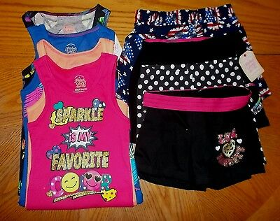 Girls Size 6/6X Faded Glory Stretchy Ribbed Tank Tops & Shorts Lot Of 8 NWT