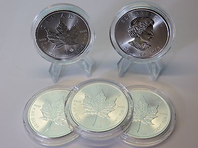Lot Of 5 - 2016 Canada Silver Maple Leaf 1 Oz .9999 Coin Canadian