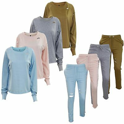 New Ladies Ripped Womens Track Suit Stretch Jogging Bottom Sweatshirt Crop Top