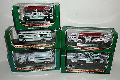 Lot of 5 Mini Hess Collectables 2007, 2008, 2009, 2010 & 2012 Never Out of Boxes