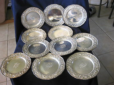 """Antque Set Of 11 Sterling 6 1/2"""" Plates With Repouse Trim"""