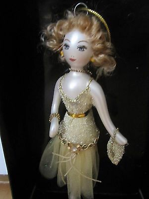 Ladies Of Elegance Collection Glass Ornament Lady In Gold Dress & Purse New
