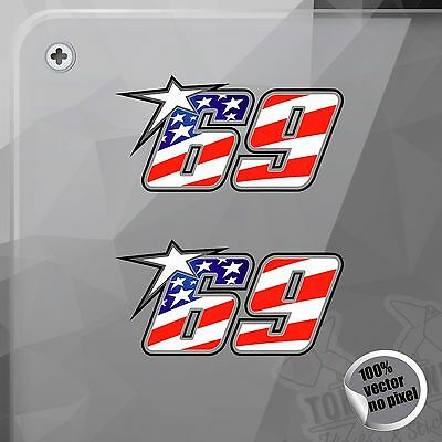 Pegatina Number 69 Nicky Hayden Usa Flag Moto Gp Decal Vinyl Sticker Autocollant