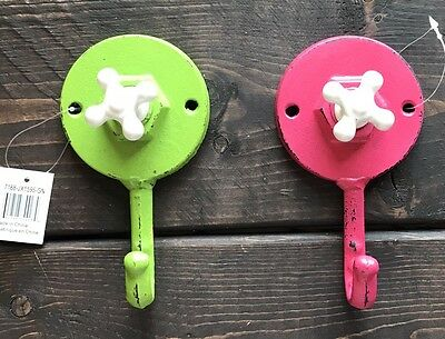New Lot Of 2 Vintage Looking Cast Iron Metal Coat Hook Neon Green Pink Faucet