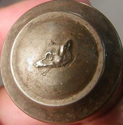 Antique Uniform Metal Button Die Punch Fantastic Wolf Dog Head 18Mg31 B 91