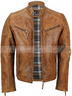 Mens Motorcycle Classic Diamond Vintage Distressed Antique Brown Leather Jacket