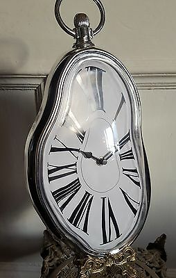 Art Deco Vintage Antique Aged Dail Wall Melting Clock Pocket Watch Chrome Colour