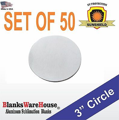 """50 Pieces 3"""" Circle, SUBLIMATION BLANKS -  .025 GAUGE,  NO HOLES, trophy supply"""
