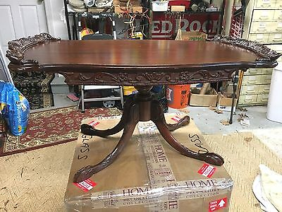 Antique carved wood coffee side table Caw foot vintage home decor  furniture