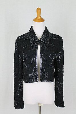 Vintage Adrianna Papell Black Hand Beaded 100% Silk Art Deco Inspired Jacket M