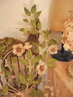 Gorgeous Large Vintage Italian Tole Wall Candleholder Sconce with Magnolias