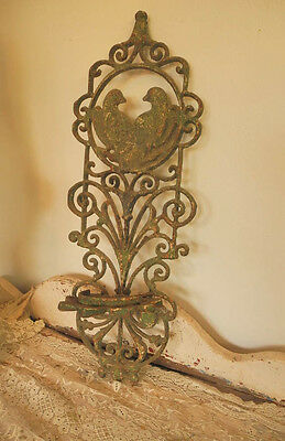 Gorgeous Antique Cast Iron Wall Hanging Plant Stand/Candleholder with Dove Birds