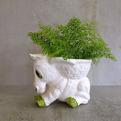 Vintage Ceramic Sad Donkey Planter Bowl Made in Japan White Green Cute Kitsch