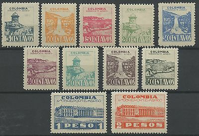 Colombia 1945 MLH Airmail Set | Scott C134-C144 | Capital Building and Fort