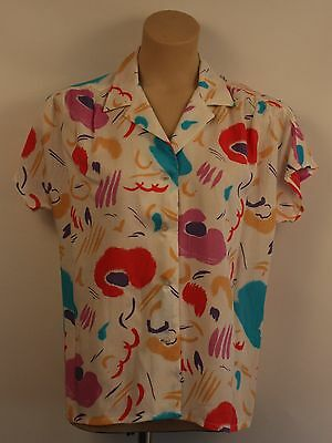 MEDIUM SIZE 12 TO 14 1980's WOMENS BLOUSE. ORIGINAL VINTAGE. STYLED BY FRENCH DR