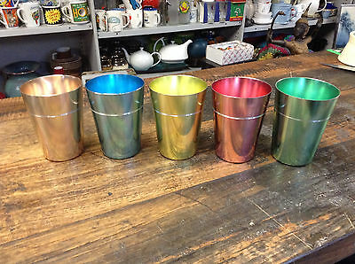 BRT 1960's Vintage Anodised Cups 5 x Aluminium Cups Camping Good condition