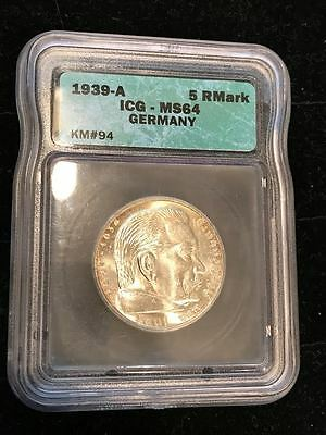 RARE! MS-64 NAZI SWASTIKA 1939-A 5 ReichsMark ICG SILVER COIN-Germany 3rd-REICH!