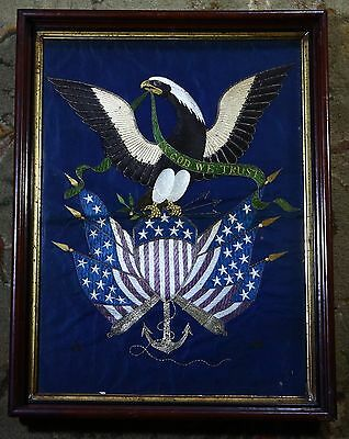 American Eagle Navy Flags OOAK Antique 19C Silk Needlepoint Embroidery Tapestry