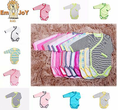 Baby Girls Boys Kimono Long Sleeved Bodysuit Wrap Around Vests 0-24 100% Cotton