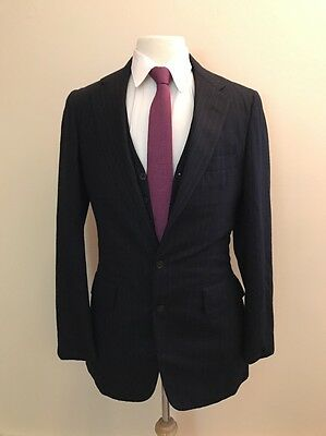 $889 Brooks Brothers 346 Men's Navy Striped USA Athletic Fit Suit Size 38R 32x35
