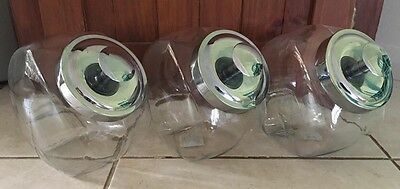 3x Glass Candy Jars With Silver Lids