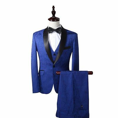 Royal Blue Men Suits With Pattern Groom Best Man Tuxedos Wedding Suits Custom