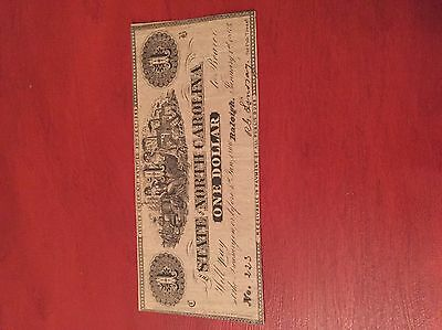 1863 State Of North Carolina NC Note $1 One Dollar