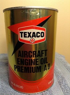 1978 Texaco Vintage Aircraft Engine Oil Can Good Condition, SAE30, Gas service