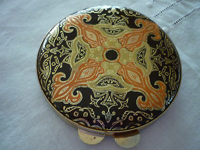 Vintage Round 70's Goldtone Metal & Patterned Leather Mirror/Powder Compact