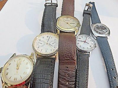 "Watches wholesale 5 watches with 3 that 1.5 inch and 2 are 1"" approx crystals"