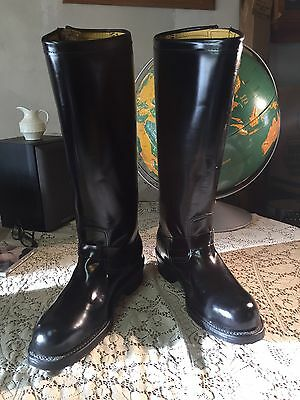 Vintage Chippewa TALL Engineer Boots 10.5D Made USA New Black Leather Biker