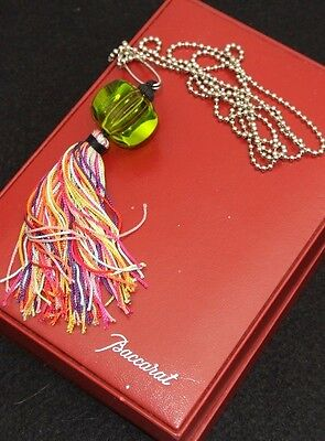 BACCARAT Signed Green Crystal Necklace Fringe Tassel Silver Safety Pin Boxed EUC
