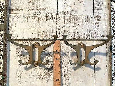 Vtg Lot Of 2 Metal Hat Coat Rack Hangers 4 Hooks Ea. ~ Salvage Hardware PAT 1908