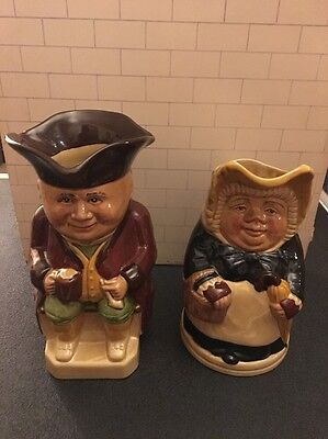 """2 Antique TOBY JUG by Wood & Sons, Betsy England 7"""" High"""