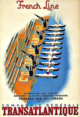 Art Ad French Line  Transatlantique 1948 Ship Cruise Travel  Deco Poster Print