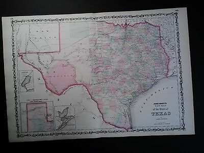 Original Johnson's 1862 Map Of Texas