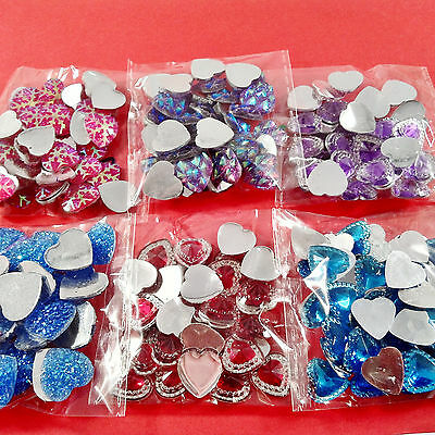 225pcs HEARTS EMBELLISHMENTS - craft cardmaking cabochon toppers