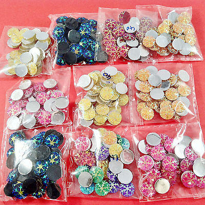 400pcs SNOWFLAKE EMBELLISHMENTS - craft cardmaking cabochon toppers
