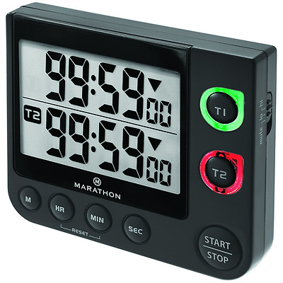 MARATHON TI030017BK Large Display 100 Hour Dual Count UP/Down Timer, Black
