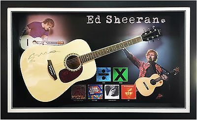 Ed Sheeran Hand Signed Acoustic Guitar Framed with COA and Photo Proof - Real