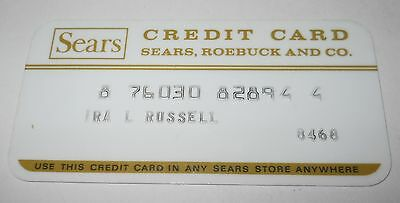 "Vintage ""sears"" Credit Card W/rectangular ""logo""; Gold & White Plastic, Good!"