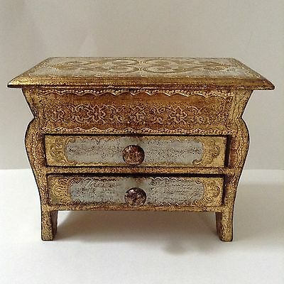 Beautiful Antique Italian Florentine Gold Gilt Wood Jewelry Trinket Box Chest