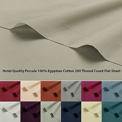 Hotel Quality Percale Plain Dyed 100% Egyptian Cotton 200 Thread Flat Top Sheet