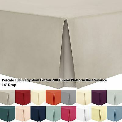Hotel Quality Plain Dyed Percale 100% Cotton 200 Thread Platform Base Valance