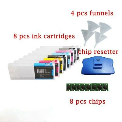 Epson Stylus Pro 7800 9800 Empty Refillable Ink Cartridge 8pcs + chip resetter