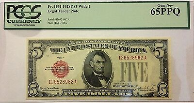 1928F $5 Five Dollars Legal Tender Us Note, Pcgs Gem New 65 Ppq Uncirculated